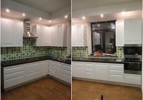 Угловая кухня Натали с ярким фартуком