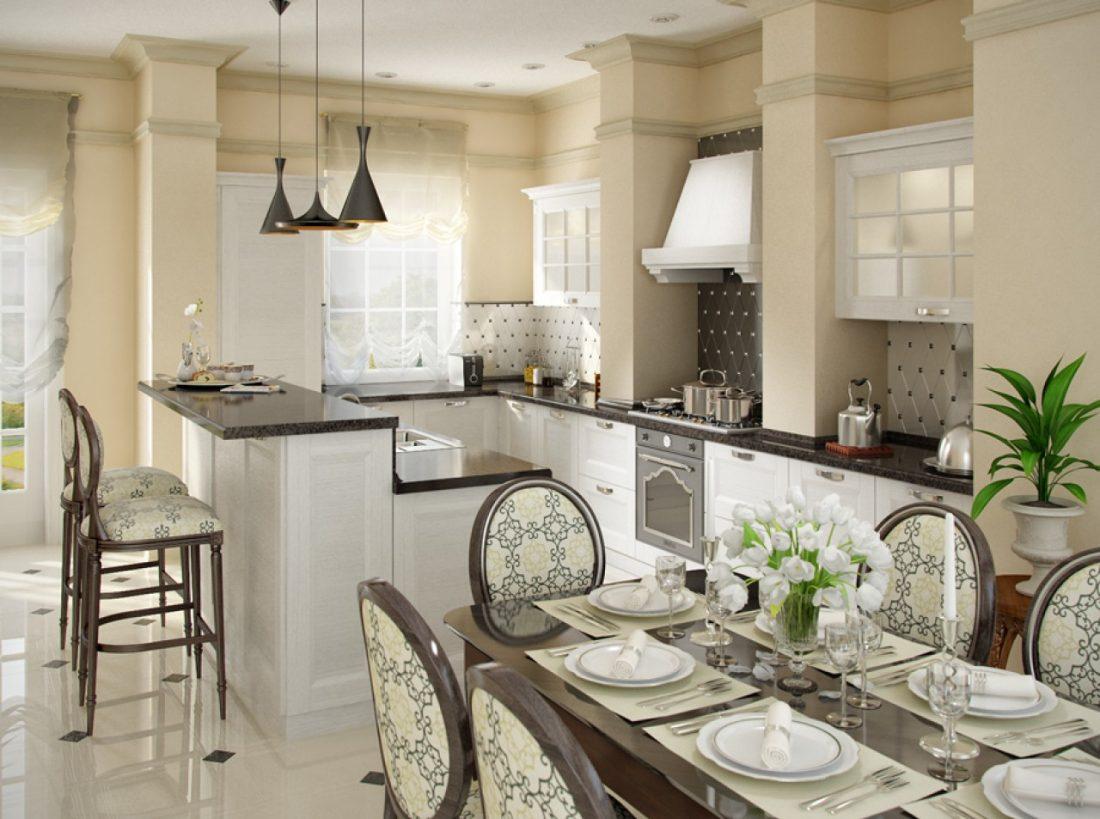 Бар и барная стойка в кухонном интерьере